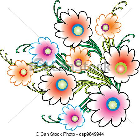 Clipart bunch of flowers. Vector clip art illustrations