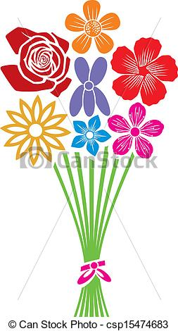 Clipart bunch of flowers royalty free stock Vector of bouquet of flowers csp15474683 - Search Clip Art ... royalty free stock