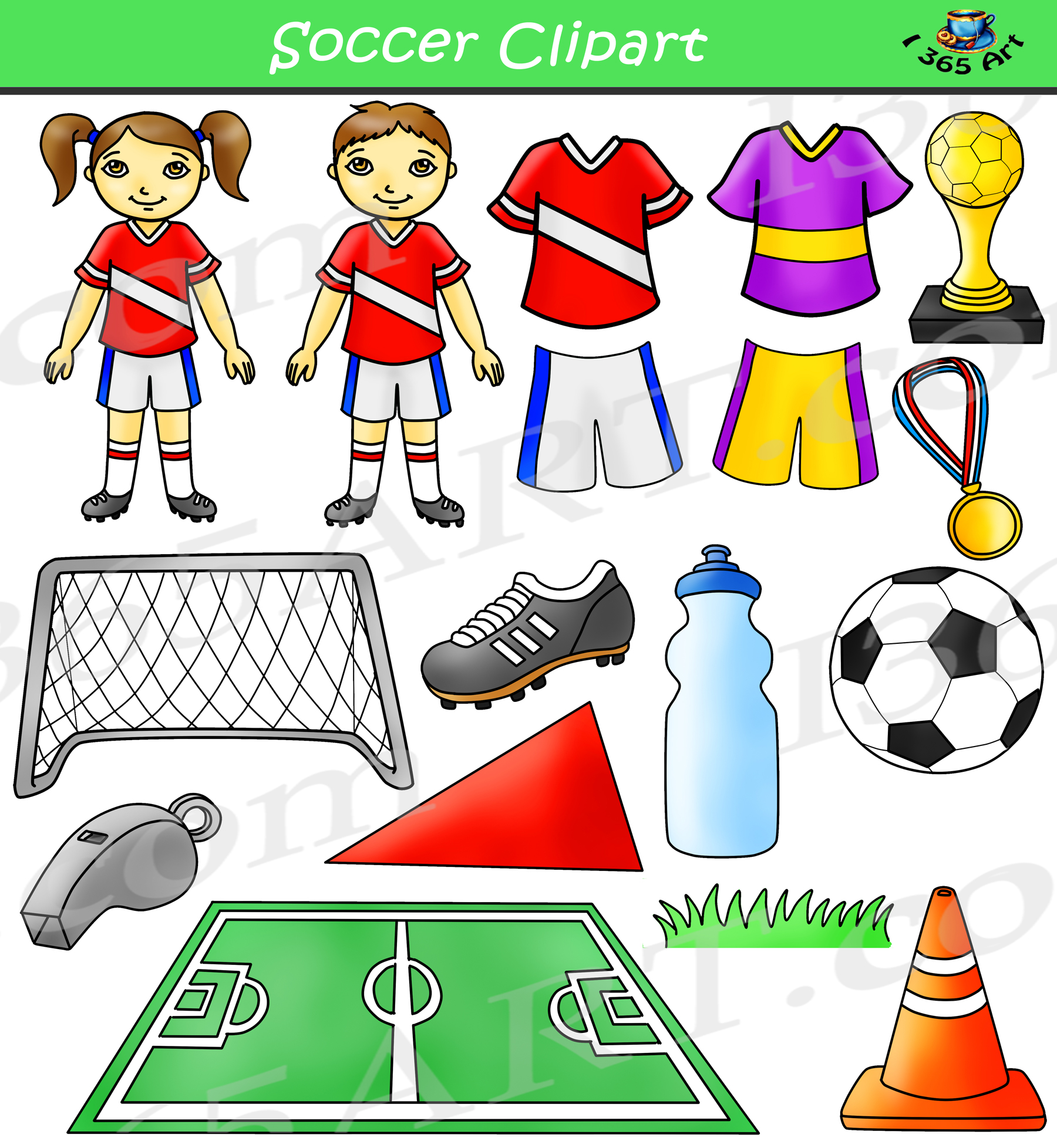Clipart bundle jpg black and white Soccer Clipart Bundle Set jpg black and white