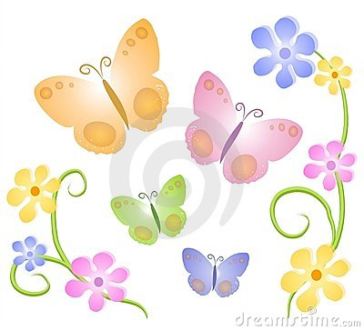 Clipart butterflies and flowers clipart black and white download Butterflies Flowers Clip Art 1 Royalty Free Stock Photo - Image ... clipart black and white download