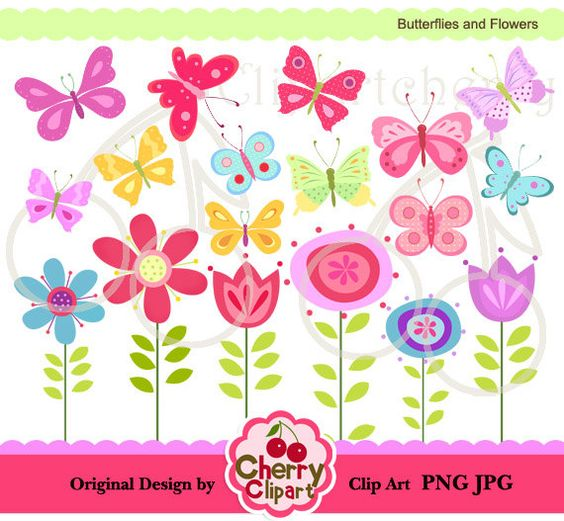 Clipart butterflies and flowers svg freeuse library Pretty Butterflies and Flowers Digital Clipart Set for-Personal ... svg freeuse library