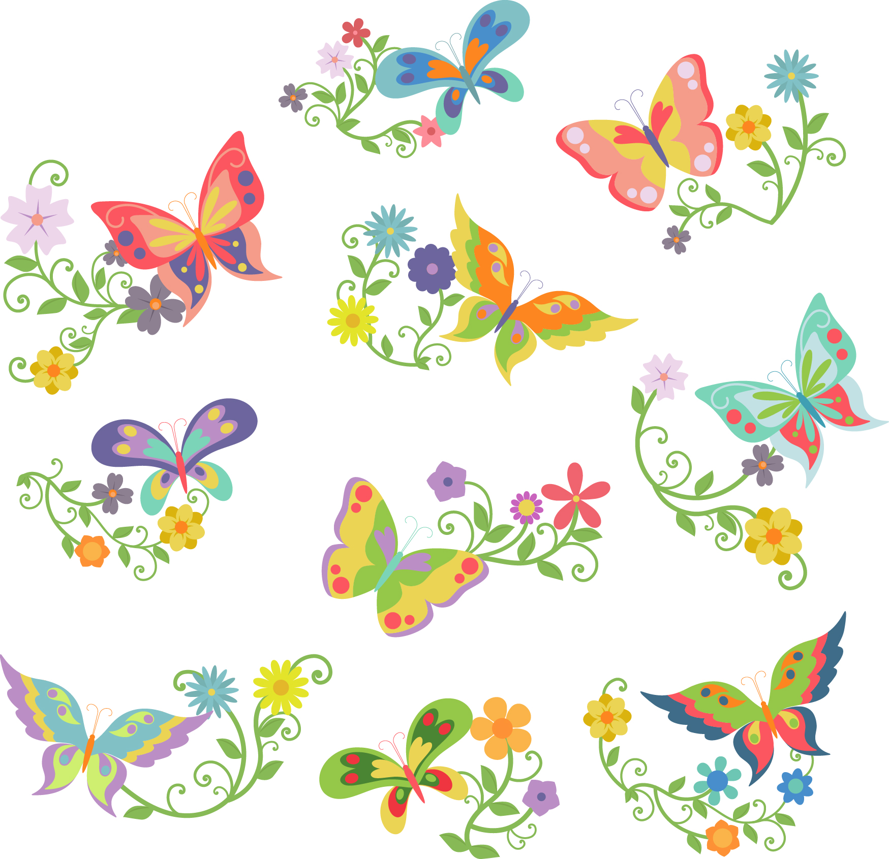 Clipart butterflies and flowers banner transparent Butterflies and Flowers Semi Exclusive Clip Art Set For Digitizing ... banner transparent