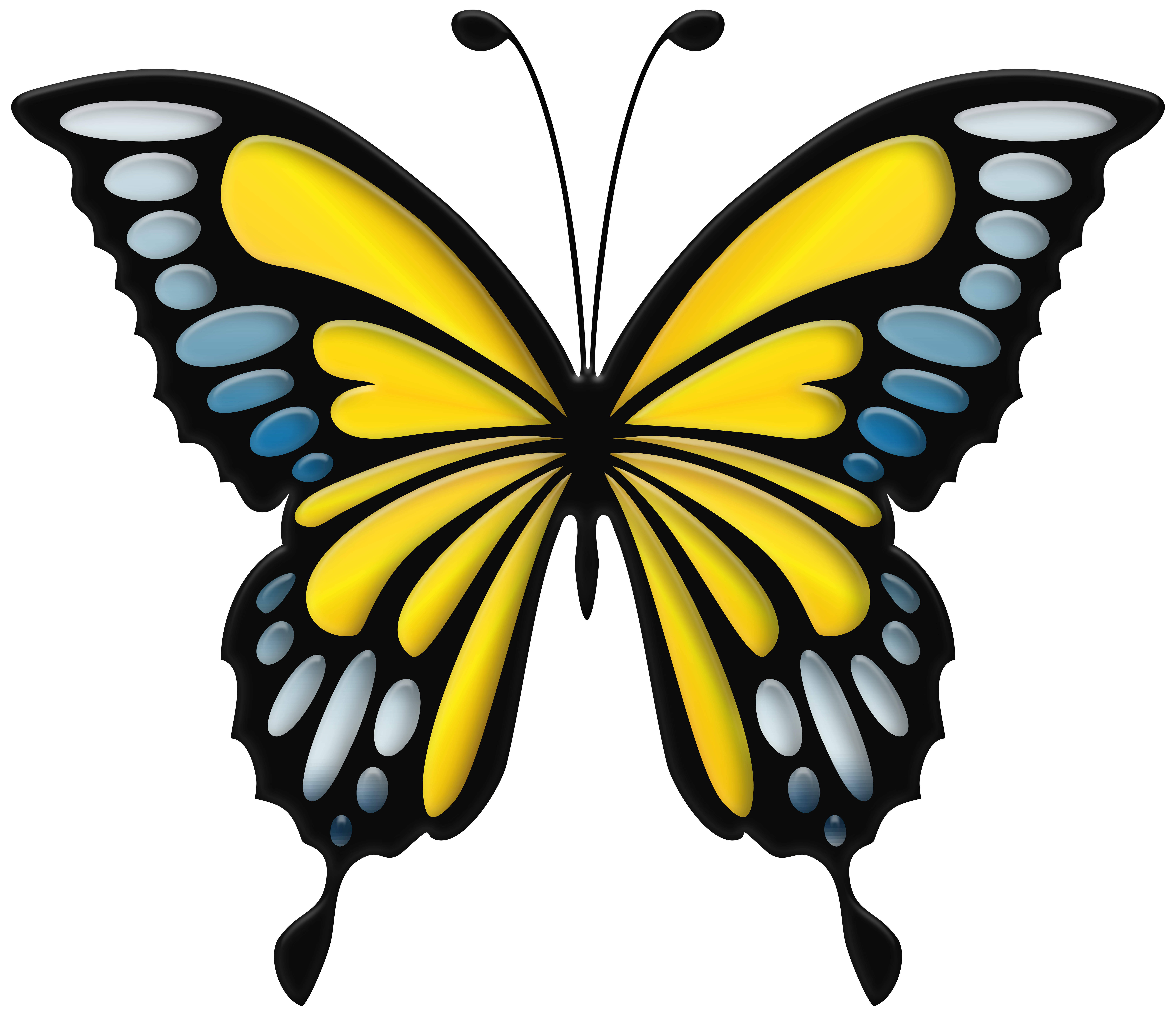 Clipart butterfly jpg transparent stock Blue Yellow Butterfly PNG Clip Art Image | Gallery Yopriceville ... jpg transparent stock