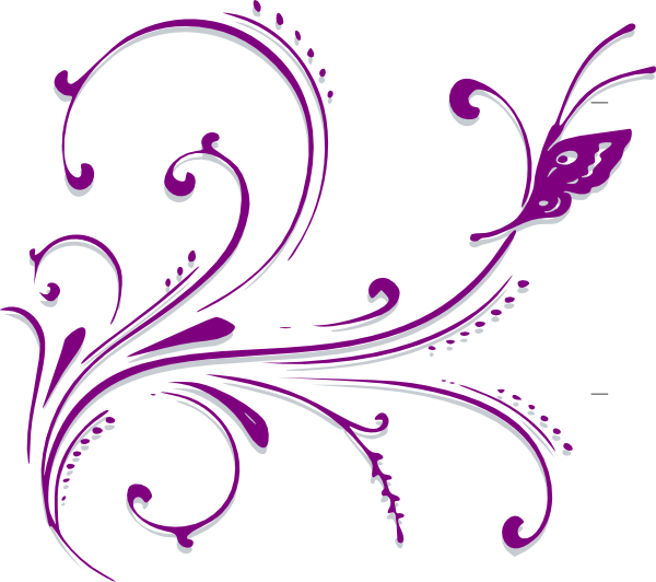 Clipart butterfly border purple clip art black and white download Purple Butterfly Scroll Clip Art at Clker.com - vector clip art ... clip art black and white download