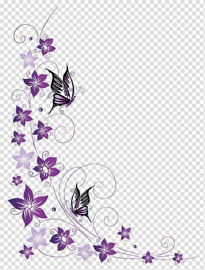 Clipart butterfly border purple png freeuse download Purple and pink flower frame , Butterfly , butterfly border ... png freeuse download