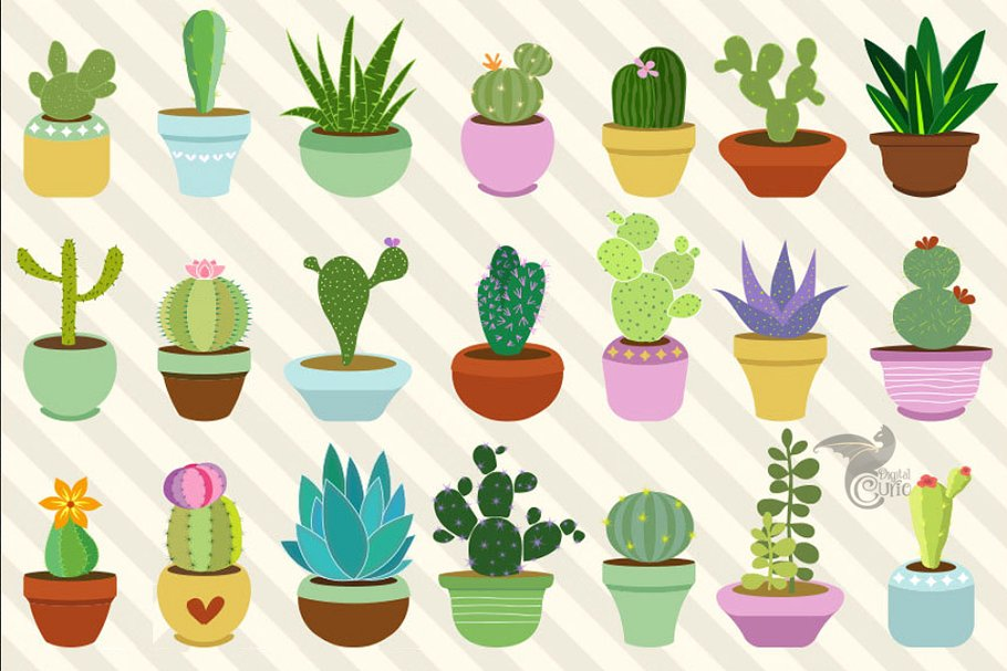 Clipart cactu vector royalty free download Cacti and Succulents Clipart vector royalty free download