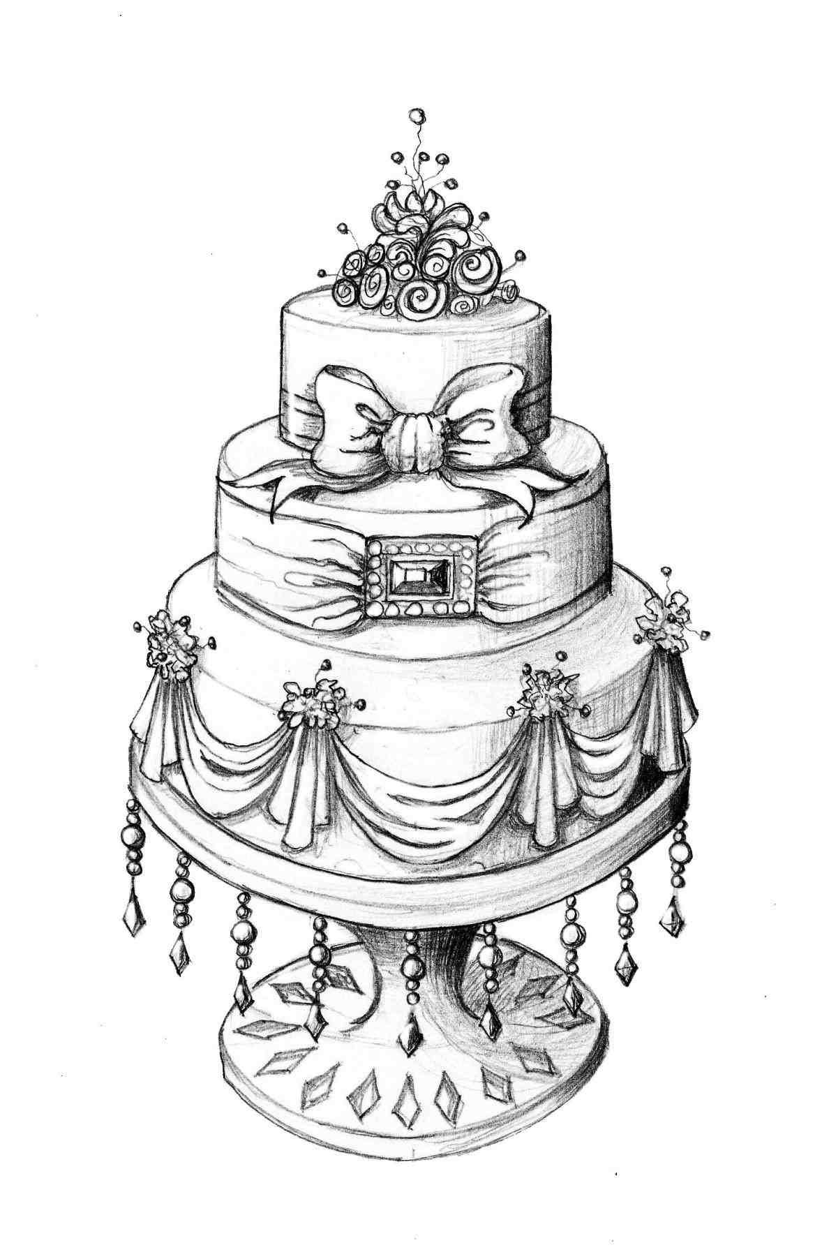 Clipart cake design wedding cake png library library vintage wedding cake clip art | Weddings | Cake drawing, Cake sketch ... png library library