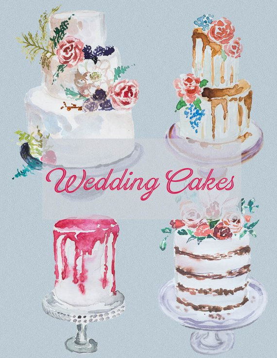 Clipart cake design wedding cake free download Watercolor Wedding Cakes Clipart,Handpainted clipart,Wedding DIY ... free download