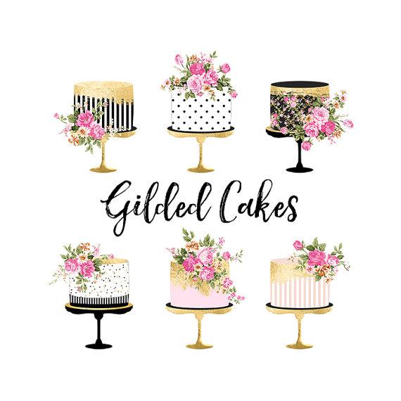 Clipart cake design wedding cake graphic library stock Cake Clipart Gold Foil Cake Clipart Shabby Chic Clipart wedding ... graphic library stock