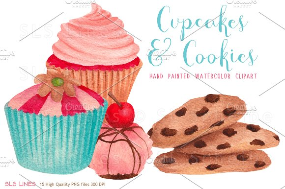 Clipart cakes and biscuits vector black and white download Cupcakes & Cookies Clipart vector black and white download