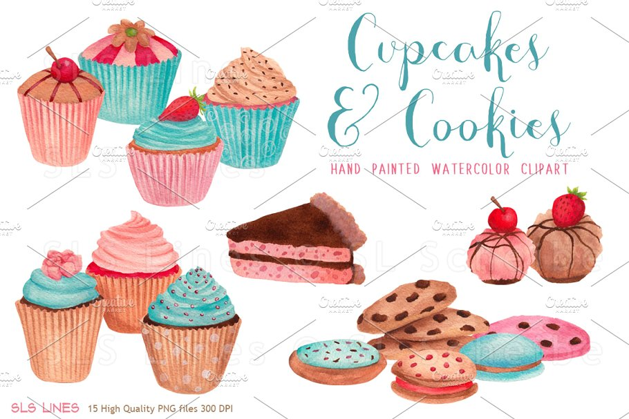 Clipart cakes and biscuits image royalty free download Cupcakes & Cookies Clipart ~ Illustrations ~ Creative Market image royalty free download