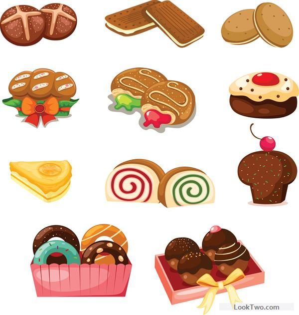 Clipart cakes and biscuits jpg black and white Biscuits and cakes set vector free vector download | Clip art ... jpg black and white