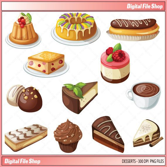 Clipart cakes and pies graphic stock Clip Art Sweets Pie Dessert / Cup Cakes by DigitalFileShop ... graphic stock