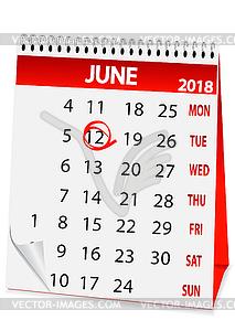 Clipart calendar 12th june vector freeuse Icon calendar for June 12 2018 - vector clip art vector freeuse