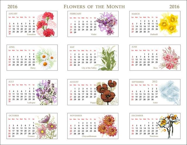 Clipart calendar 2016 clipart black and white download Clip Art Of A 2016 Flowers Of The Month Calendar clipart black and white download