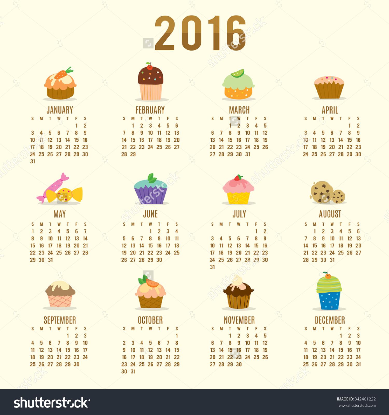 Clipart calendar 2016 svg transparent download Calendar 2016 Cupcake Cartoon Cute Vector Stock Vector 342401222 ... svg transparent download