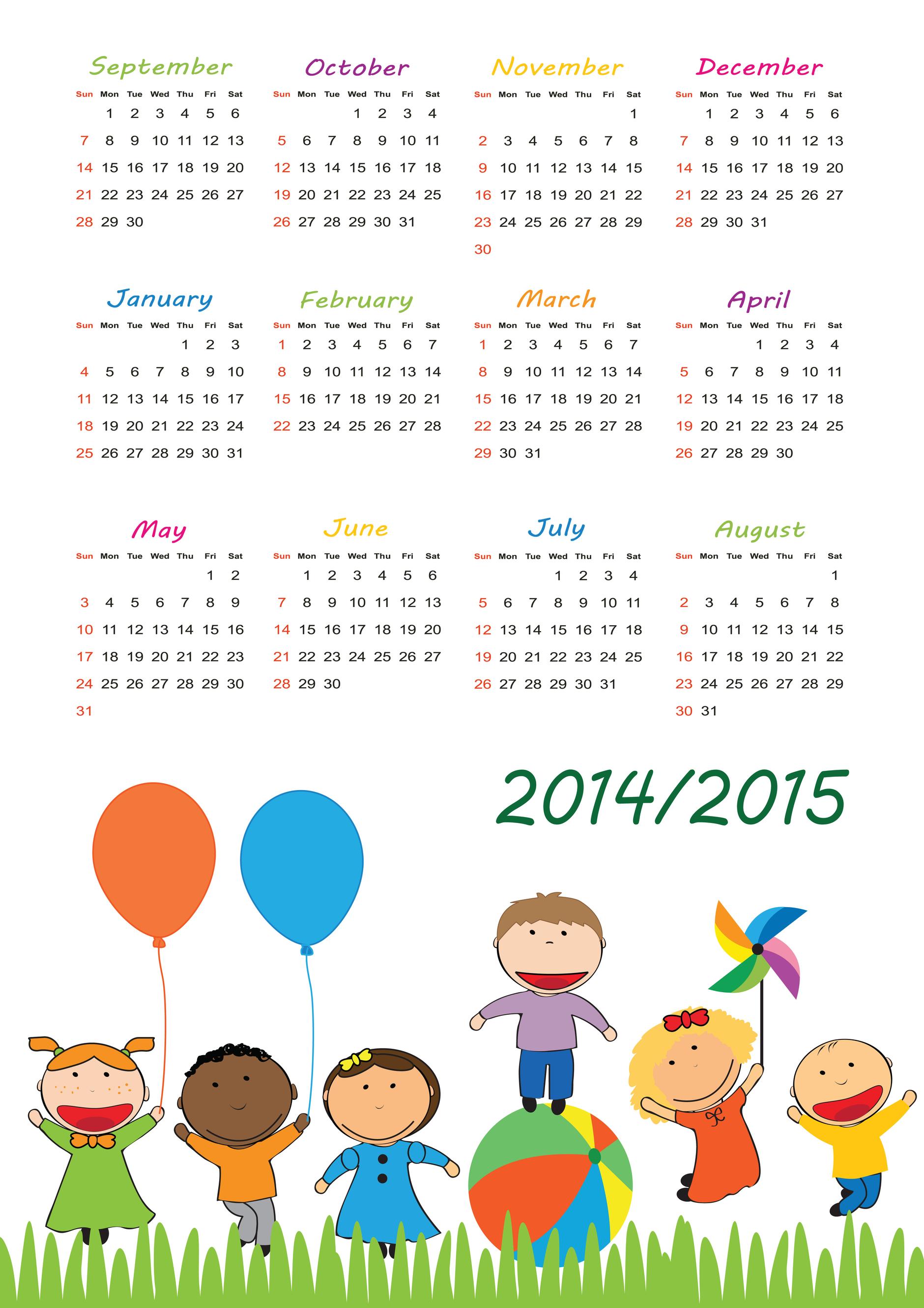 Clipart calendar august 2015 picture library library 2014 – 2015 Calendar – September to August - KidsPressMagazine.com picture library library