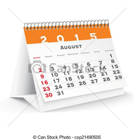 Clipart calendar august 2015 vector royalty free stock Vector Clipart of August 2015 desk calendar - vector illustration ... vector royalty free stock