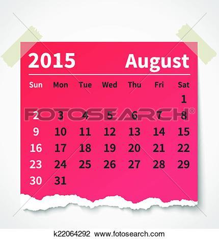 Clipart calendar august 2015 clipart free download Clipart of Calendar august 2015 colorful torn paper k22064292 ... clipart free download
