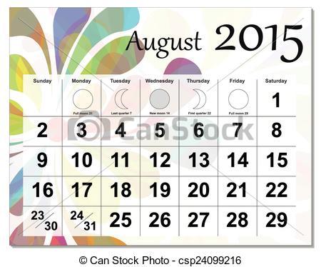 Clipart calendar august 2015 graphic Vector Clip Art of August 2015 calendar - EPS10 file. August 2015 ... graphic