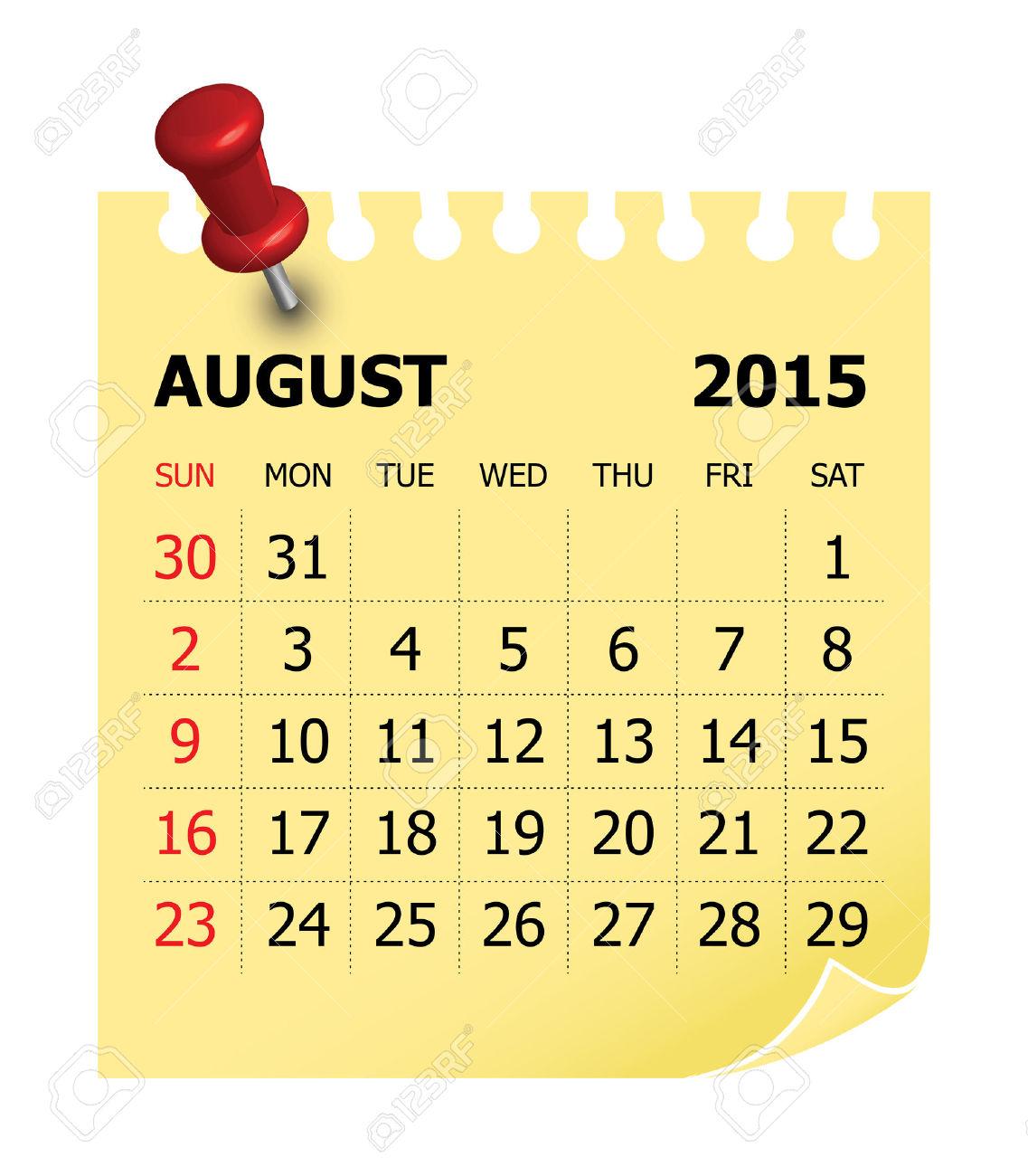 Clipart calendar august 2015 vector royalty free library Simple Calendar For August 2015 Royalty Free Cliparts, Vectors ... vector royalty free library