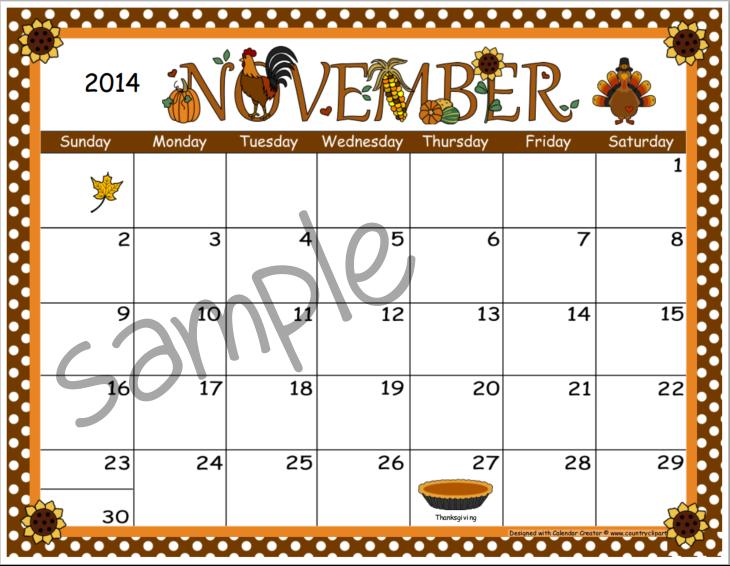 Creator make and print. Clipart calendar november