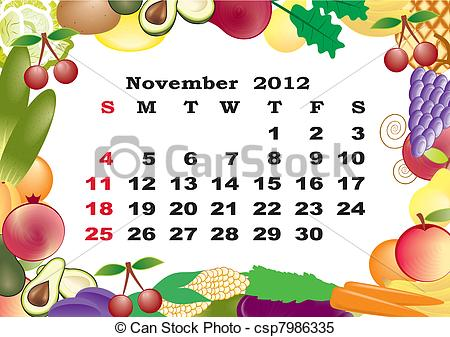 Vector of monthly in. Clipart calendar november