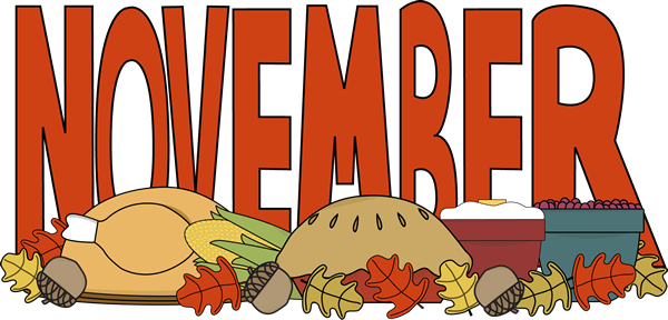 Month of kid thanksgiving. Clipart calendar november