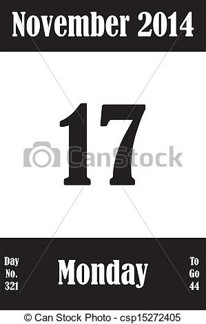 Clipart calendar november 2014 jpg transparent library Vector Clipart of 17 November 2014 Calendar Page with number of ... jpg transparent library
