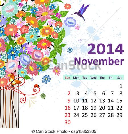 Clipart calendar november 2014 banner black and white library Vector Clipart of Calendar for 2014, November csp15353305 - Search ... banner black and white library