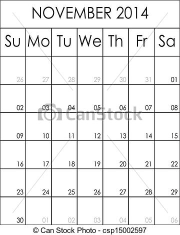 Clipart calendar november 2014 clipart freeuse download EPS Vectors of Costumizable Planner Calendar November 2014 big eps ... clipart freeuse download