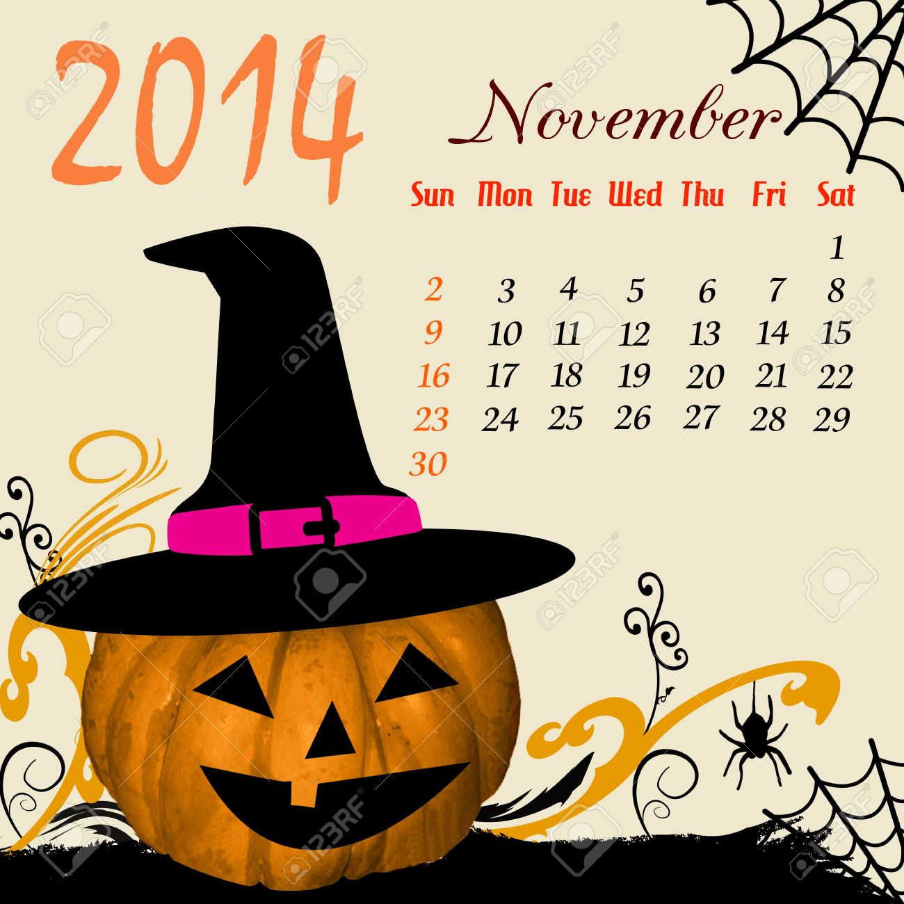 Clipart calendar november 2014 png freeuse Calendar For 2014 November With Halloween Elements Royalty Free ... png freeuse