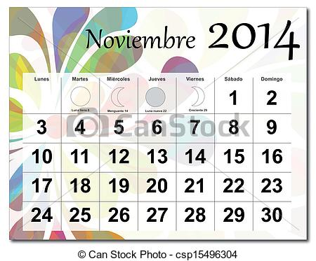 Clipart calendar november 2014 royalty free library Vector Clipart of November 2014 calendar - EPS10 vector file ... royalty free library