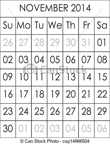 Clipart calendar november 2014 svg stock Clipart calendar november 2014 - ClipartFest svg stock