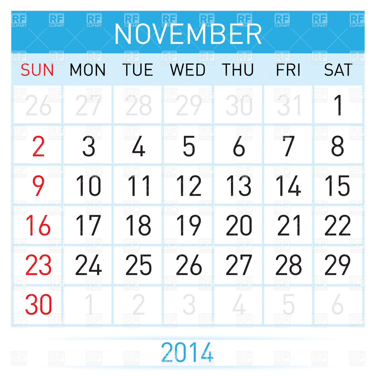 Clipart calendar november 2014 clipart royalty free stock November 2014 month calendar Vector Image #7010 – RFclipart clipart royalty free stock