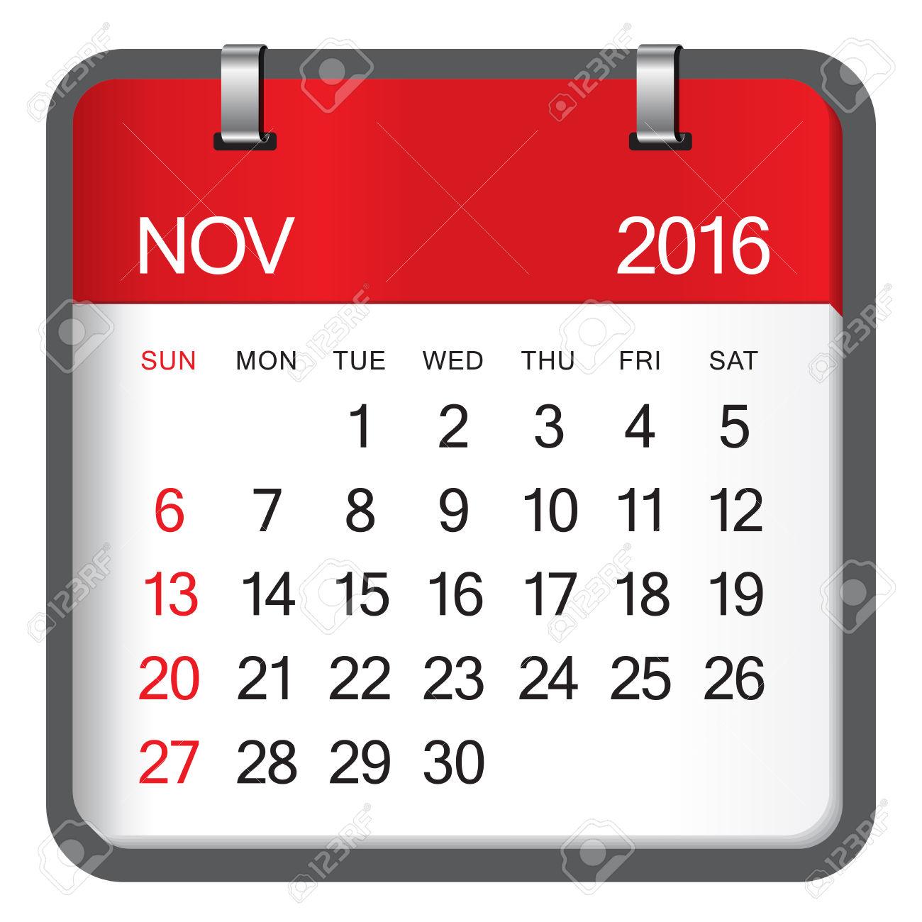 Clipart calendar november 2016