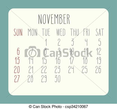 Clipart calendar november 2016. Clip art vector of