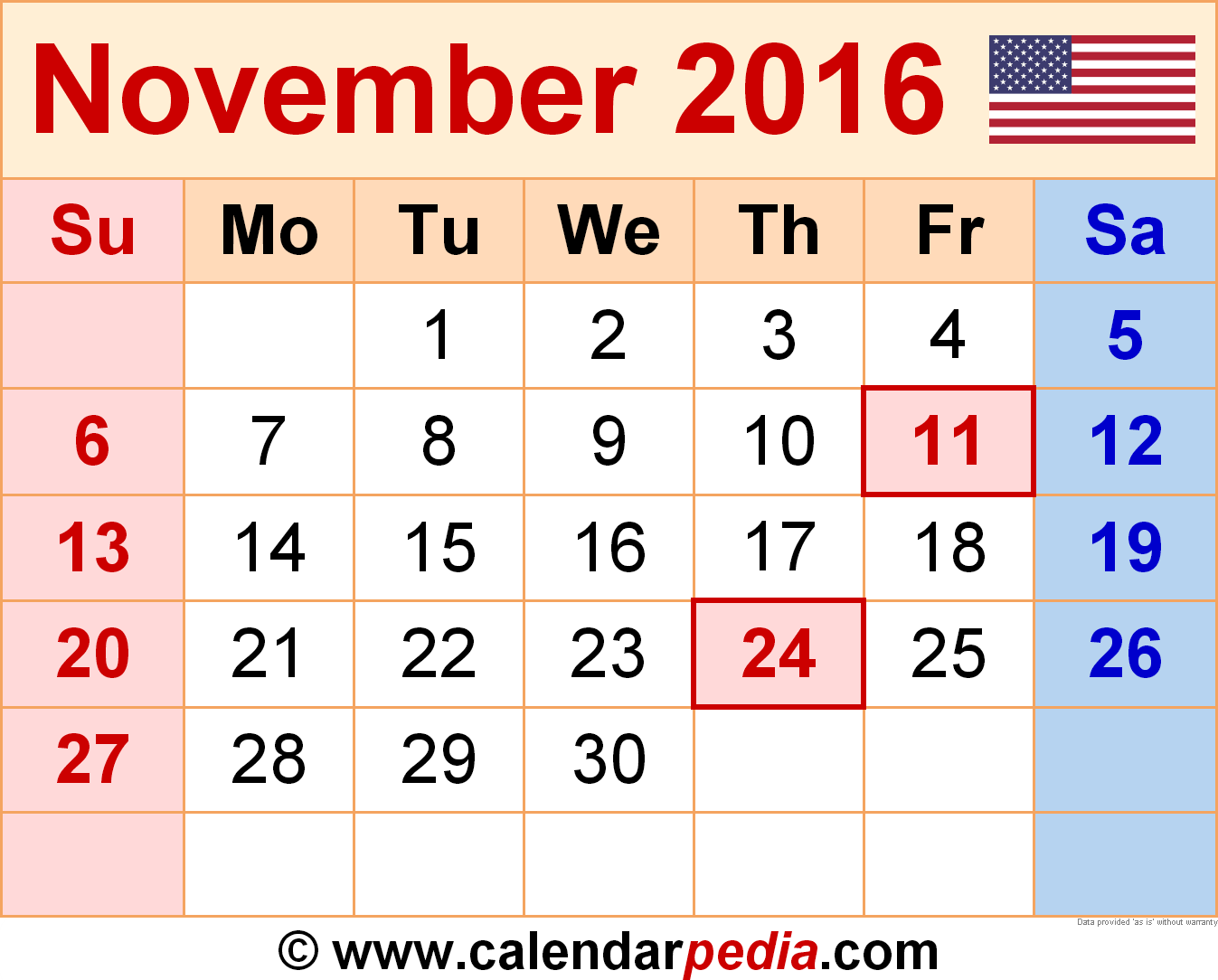 Clipart calendar november 2016 clip art library library November 2016 Calendars for Word, Excel & PDF clip art library library