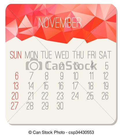 Clipart calendar november 2016 png stock Clipart Vector of November 2016 monthly calendar - November 2016 ... png stock
