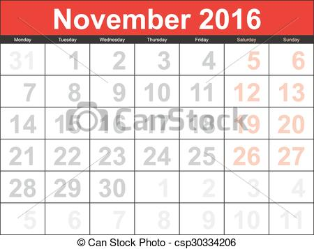 Clipart calendar november 2016 jpg free stock Vector Clipart of Vector planning calendar November 2016 ... jpg free stock
