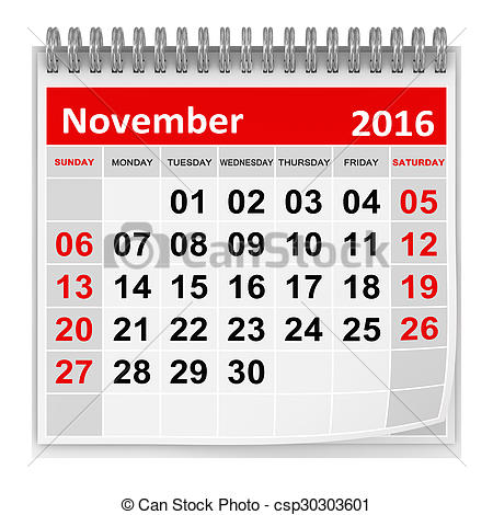 Clipart calendar november 2016 clip library download Stock Illustration of Calendar - November 2016 , This is a ... clip library download