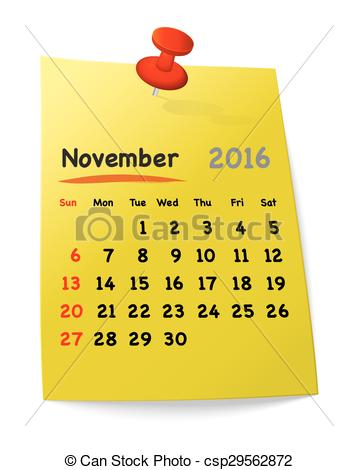 Clipart calendar november 2016 jpg free stock Vectors Illustration of Calendar for november 2016 on yellow ... jpg free stock