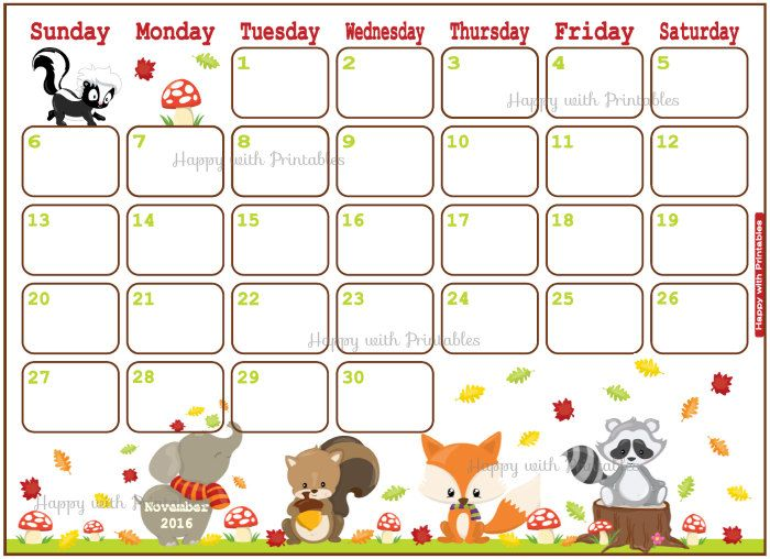 Clipart calendar november 2016 jpg black and white 17 Best ideas about 2016 November Calendar on Pinterest | July ... jpg black and white