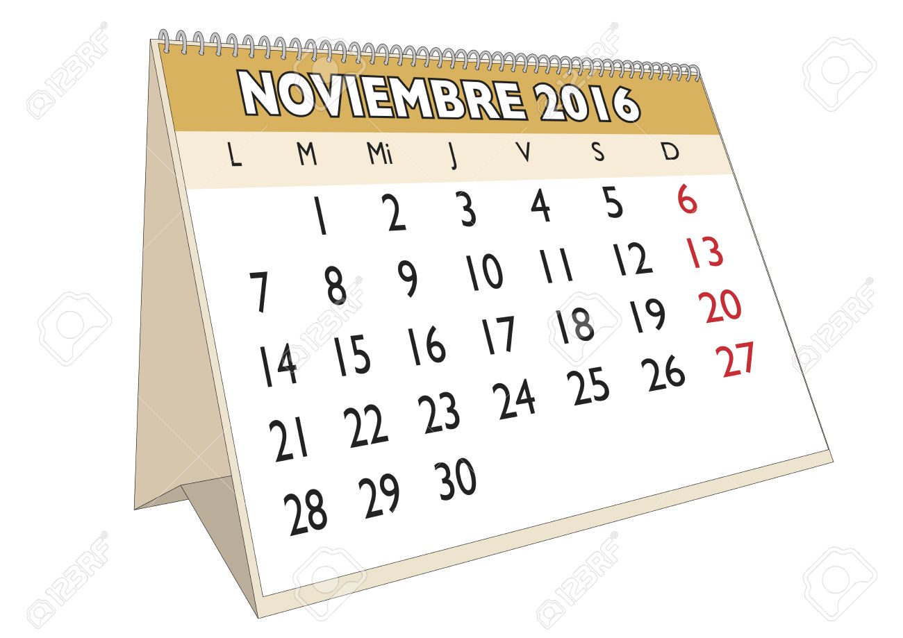 Clipart calendar november 2016 jpg black and white November 2016 Calendar In Spanish – 2017 printable calendar jpg black and white