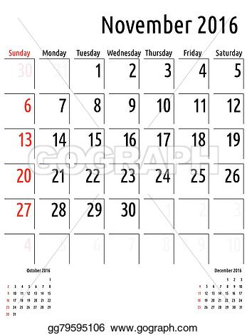 Clipart calendar november 2016. Vector stock planning template
