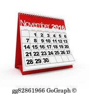 Clipart calendar november 2016 picture freeuse stock Clipart - Calendar november 2016. Stock Illustration gg76392364 ... picture freeuse stock