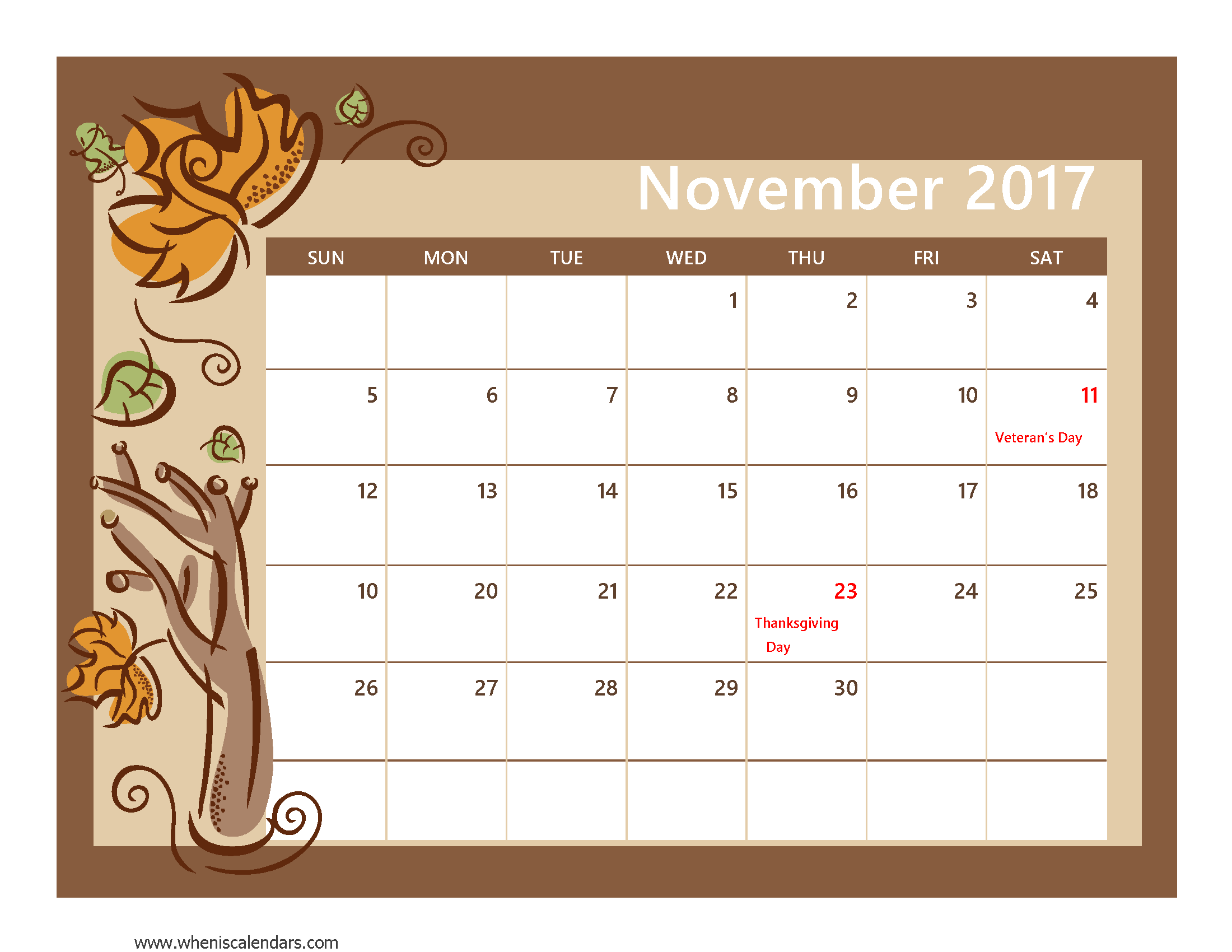 Clipart calendar november 2016. Pdf monthly printable with