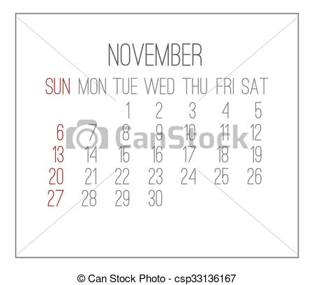 Clipart calendar november 2016 image library stock Clip Art Vector of November 2016 monthly calendar - November 2016 ... image library stock