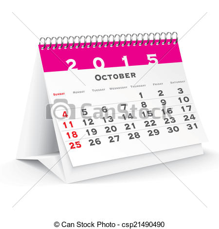 Clipart calendar october 2015 vector library stock EPS Vectors of October 2015 desk calendar - vector illustration ... vector library stock