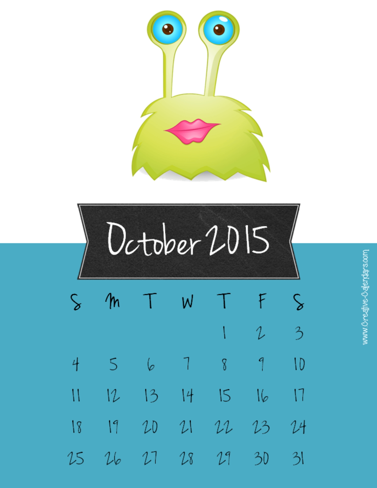 Clipart calendar october 2015 image free stock Cute october 2015 clipart - ClipartFest image free stock